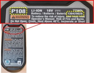 Ryobi Recalled Battery - Part number